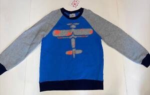 Hanna Andersson boys 130 8 blue airplane applique long sleeve sweatshirt NWT
