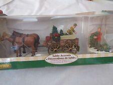 2004 LEMAX 2 PC CHRISTMAS VILLAGE HORSE DRAWN CHRISTMAS TREE WAGON - IOB