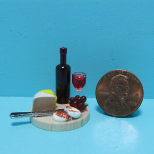 Dollhouse Miniature Deatiled Food Cheese Board with Wine and Fruit B0206