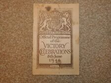 OFFICIAL PROGRAMME OF THE VICTORY CELEBRATIONS 8th JUNE 1946 POST WORLD WAR II