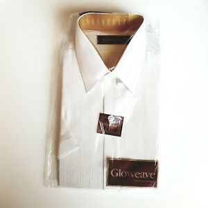 Vintage Gloweave Men's Dress Shirt 37cm collar Short sleeve poly/cotton Beige