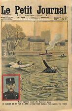 SAUVETAGE FEMME ILE SAINT ST LOUIS PAR LE GARDIEN DE LA PAIX MARTIN 1913