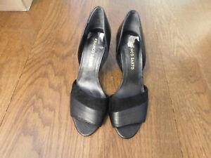 Franco Sarto India Black Leather & Suede D'Orsay Peep-toe Pump EUC open toe sz 7