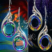 Frauen Mode Farbverlauf Kristall Lange Ohrringe Ohrhaken Baumeln Tropfen Schmuck
