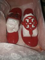 New Tory Burch Leather Miller Thong Sandals Bright Samba Red Size 5.5