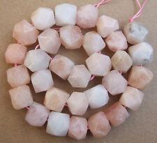 "12x13MM Natural Pink Morganite Nugget Shape Loose Beads 15"""