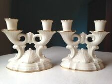 Rare! Lenox Meridian Collection Double Light Candle Holders Ivory w/Gold Trim
