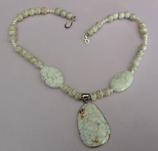 """Handmade White Howlite Beaded 16"""" Inch Necklace has Drop with Sterling Accents"""