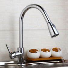 360°Swivel 1 Handle Kitchen Basin Sink Faucet Pull Out Spray Chrome Mixer Tap