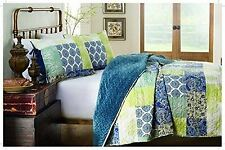 214 West BEKKA 3 PC QUILT SET Velvet  Full/Queen BLUE MOROCCAN BOHO POETIC NEW