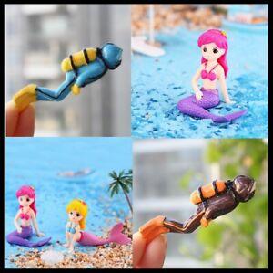 Aquarium Artificial Plants Cute Little Mermaid  Treasure Hunter Diver Action