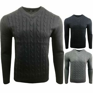 Mens New Cable Knit Jumper Sweater Pullover Long Sleeve V Neck Smart Top
