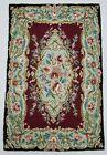 Vintage Hand Made Traditional Kashmiri Multicolor Wool Rug Carpet 93x62cm