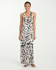 NWT MSRP $178 - TOMMY BAHAMA Chateau Shadow Long Dress, Black Multi, Size SMALL