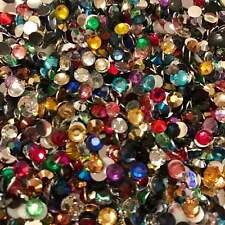 1000 Rhinestones Crystal Colours Flat Back Resin Diamante Gems Crafts Nail