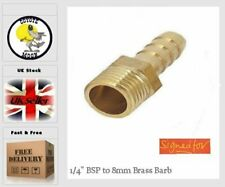 """1/4"""" BSP to 8mm Brass Male Barb Hose Tail Fitting Fuel Air Gas Water Oil UK  87"""