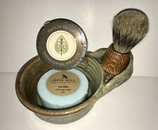 Shaving Set Pottery Mug, Badger Hair Brush & 2 Soap Pucks - Handmade by Artisans
