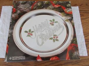 Vtg Silverplated Christmas Holiday Merry Christmas Tray  Int'l Silver Co NIB