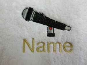 MICROPHONE design Embroidered on a Adult Robe with Personalised Name singing
