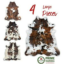 COWHIDE RUG - Tricolor, High Quality, Hair on Hide, Large (L), 4 Pieces