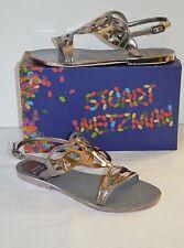 New $235 Stuart Weitzman Gelfisher Gel Fisher Graphite Silver Jelly Sandal sz 8