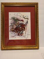 Peggy Abrams Windswept Traveler Framed Matted Christmas Print Santa