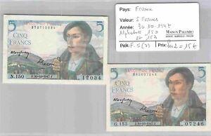 LOT 2 BILLETS FRANCE - 5 Francs - 30/10/1947 - Alphabets 150 et 153