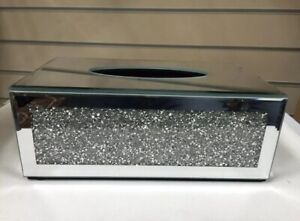 Crushed Crystal Diamond Mirrored Glass Tissue Box Holder Stunning Ideal For Gift