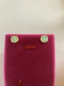 White Fire Opal (8mm) GP Stud Earrings