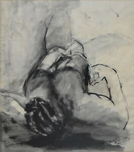 HELAINE BLUMENFELD-NY Modernist-Original Signed Ink Wash-Reclining Nude Figure