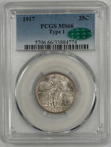 1917 STANDING LIBERTY QUARTER 25C TYPE 1 PCGS & CAC MS 66 MINT STATE UNC (774)