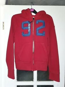 Bnwt Boys Red Zip Up Ambercrombie And Fitch Hooded Muscle Jacket Size Small