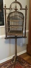 Large Vintage Victorian Style Carved Wood Metal Wire Bird Cage Stand Free Ship