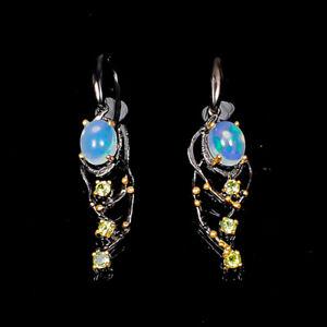 Jewelry one of a kind Opal Earrings Silver 925 Sterling   /E53169