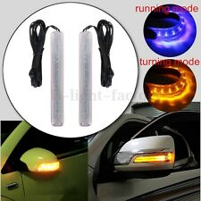 2x Universal Car LED Rearview Mirror Blinker Turn Signal Light Strip Blue Yellow