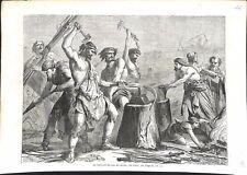 Ancien Testament Hébreux Fabrication des Socs Charrue Bible Israël GRAVURE 1864