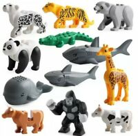 12XWild Animal Minifigures Zoo Farm Tiger Whale Gorilla Cow Mini Figure Fit Lego