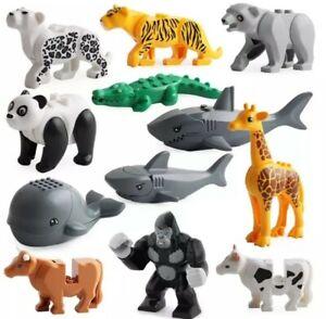 12XWild Animal Minifigures Zoo Farm Tiger Whale Gorilla Cow Mini Figure Fit Lego
