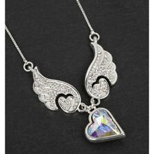 GIFT BOXED Equilibrium Silver Plated Guardian Angel Wings Heart Necklace Pendant