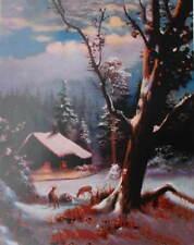 Old Cabin Deer Snowy Winter  Full Moon Light possible ?  R Atkinson Fox