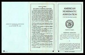 VINTAGE AMERICAN NUMISMATIC ASSOCIATION MEMBERSHIP PAMPHLET BOOKLET EARLY 1960's