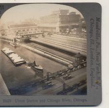 Union Train Station Chicago River Chicago IL Keystone Stereoview c1900