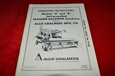 Allis Chalmers A & R Combine Operator's Manual WGOH White Cover