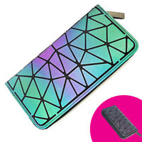 HAWWWY Luminous Geometric Colorful Wallet Purse Coin Purse for Women Holographic