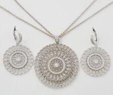 1 ct 18K White Gold Round Cut Diamond Filigree Earrings & Pendant Set 27 Grams