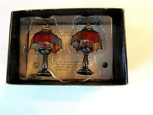2 Dollhouse Miniature Electric Lamps Lights for 12 Volt System  never used