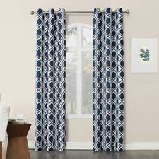 "No 918 Navy Blue & White Cullen Grommet-Top Curtain Panel - 40""x84"" , 40""x95"""