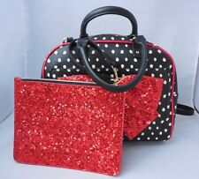 NWT Betsey Johnson Bow-Lesque Dots Red Sequin Bow Dome Satchel + Wristlet Pouch