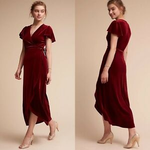 Anthropologie BHLDN Thrive Velvet Wrap Midi Dress Red Women's Sz M Bridesmaids