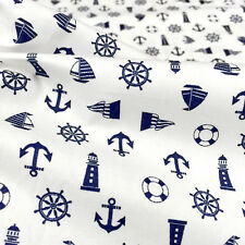 "NAUTICAL WHITE POLISHED COTTON ANCHOR LIGHTHOUSE Fabric 44""W BTY Craft Decor"